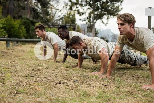 Soldiers performing pushup exercise