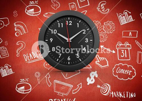 3D Clock against red background with business drawing graphic icons