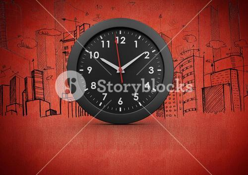 3D Clock against red background with city buildings drawings