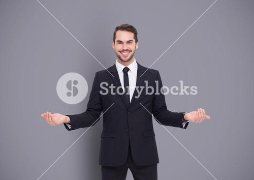 Man choosing or deciding with open palms hands