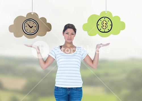 Woman choosing or deciding clouds of time or money with open palm hands