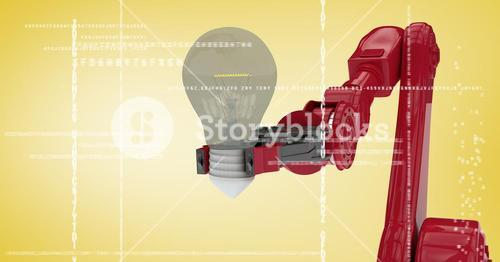 Red robot claw with light bulb behind white interface against yellow background
