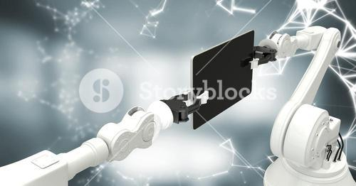 White robot claws with device and white interface against blurry grey room