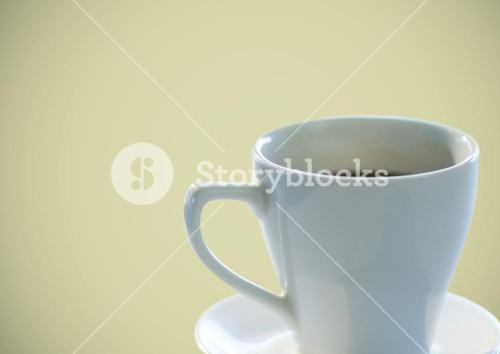 Coffee cup against olive background