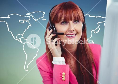 Travel agent at computer against white map and blue green background