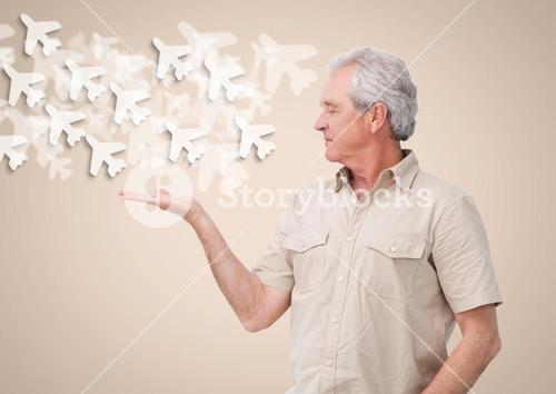 Old Man with open palm hands