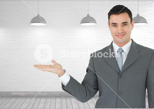Man with open palm hand