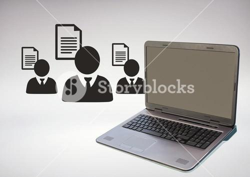 3D Laptop against grey background with business people icons and files