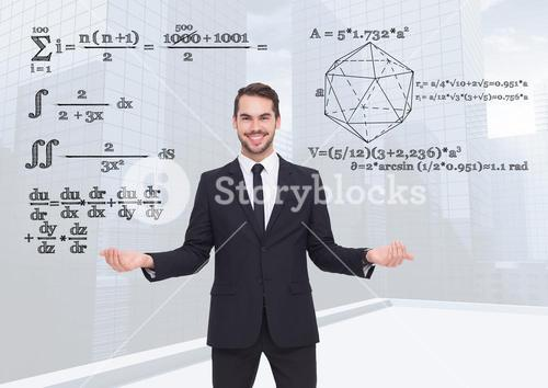 Man choosing or deciding math equations with open palm hands