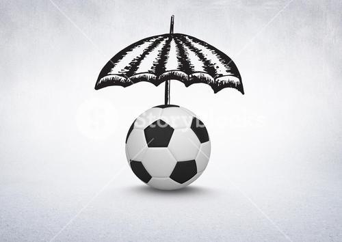 3D Football with umbrella drawings on white background
