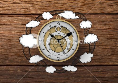 3D Clock with Cloud illustrion drawings against wood