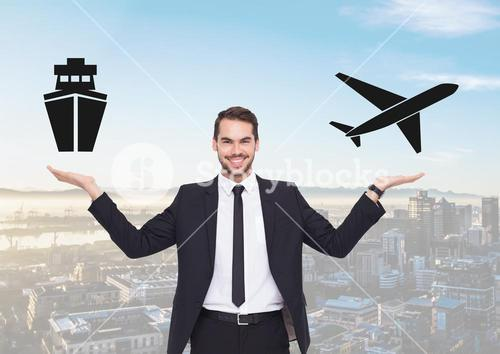 Man choosing or deciding ship or plane with open palm hands