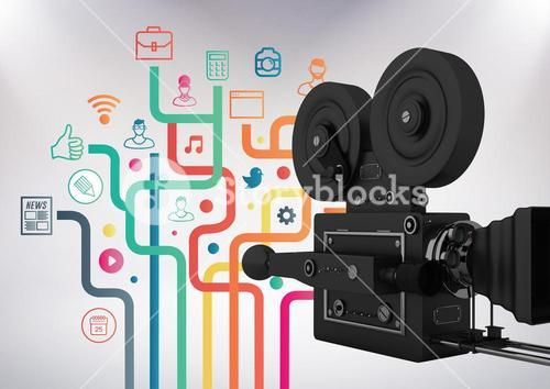3D Film Camera against grey background with social media icon illustrations