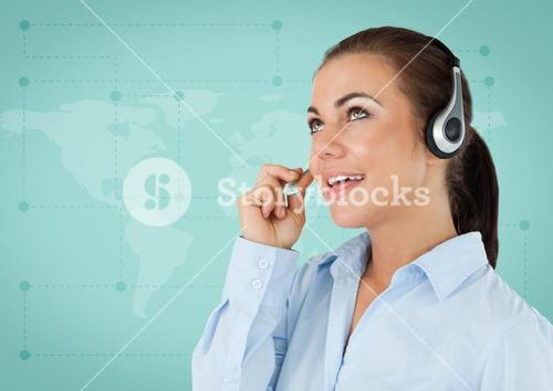 Travel agent with headset against green map