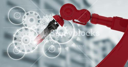 Red robot claw with flare against white cog graphics and blurry building