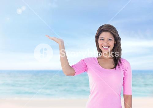 Woman with open palm hand