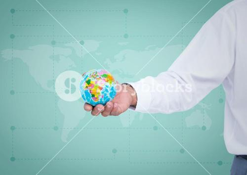 Arm with globe against green map