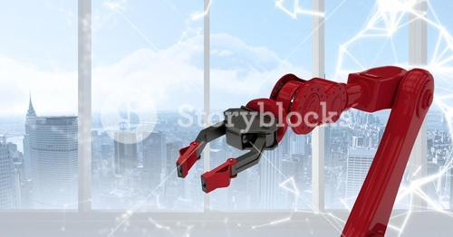 Red robot claw against white interface and window with skyline
