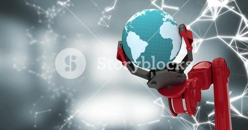 Red robot claw with globe and white interface against blurry grey room