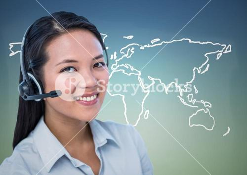 Travel agent with headset against white map and blue green background