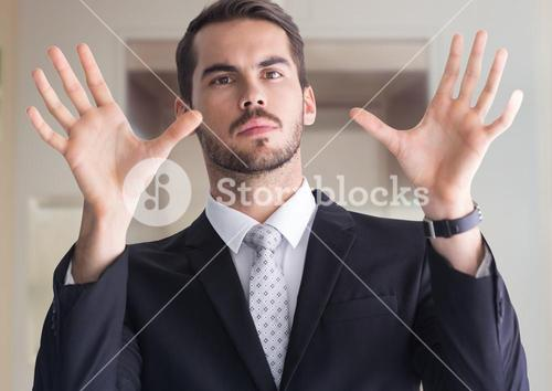 Man with open palm hands
