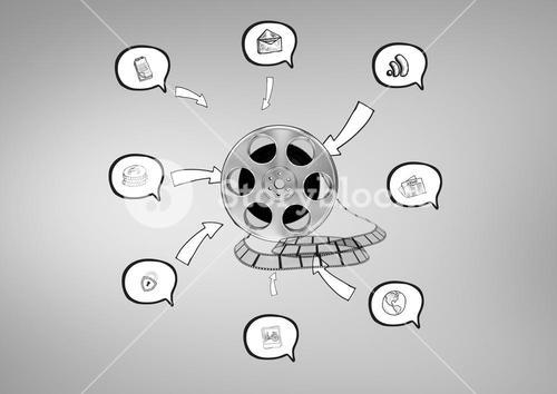 3D Film Reel against grey background with various graphic drawings icons in speech bubbles