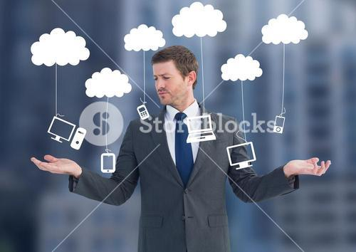 Man choosing or deciding clouds hanging technology with open palm hands