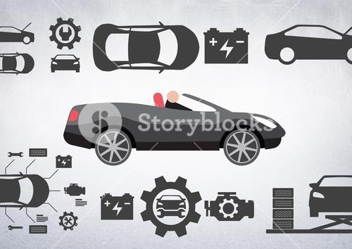 Man in car illustration against white background with car mechanic icons