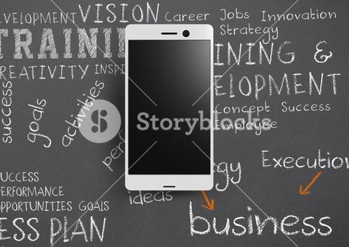 Phone against grey background with chalk written business training words