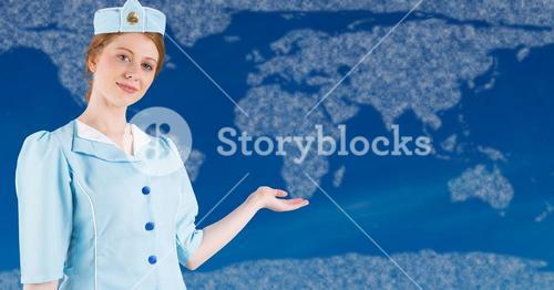 Stewardess with hand out against map with clouds and blue background
