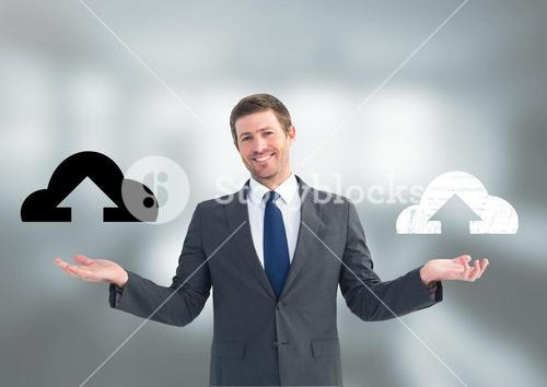 Man choosing or deciding cloud uploads icons with open palm hands