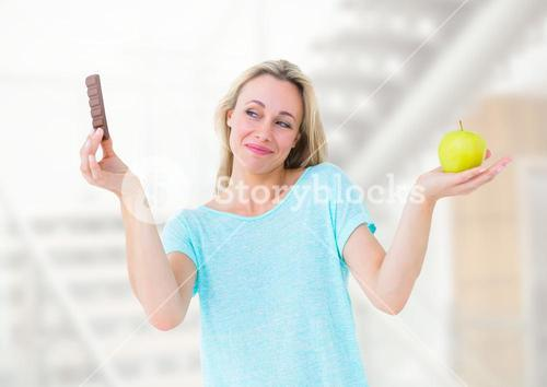 Woman choosing or deciding food with open palm