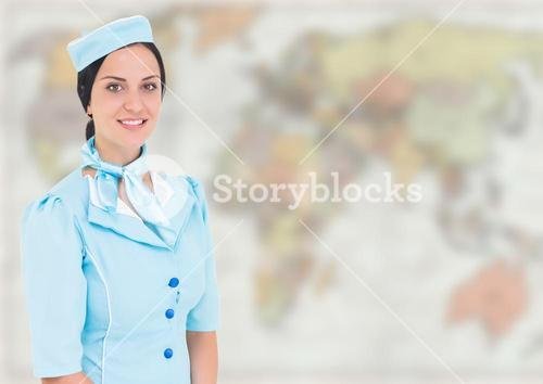 Stewardess against blurry map