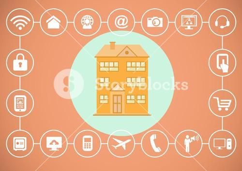 House illustration in blue circle with various icons technology
