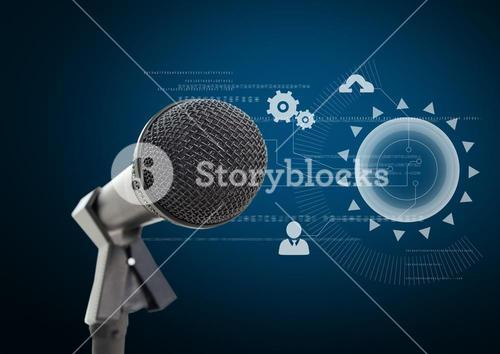 Microphone against blue background with technology interface