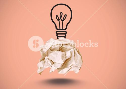 Crumpled paper with lightbulb drawing with pink background