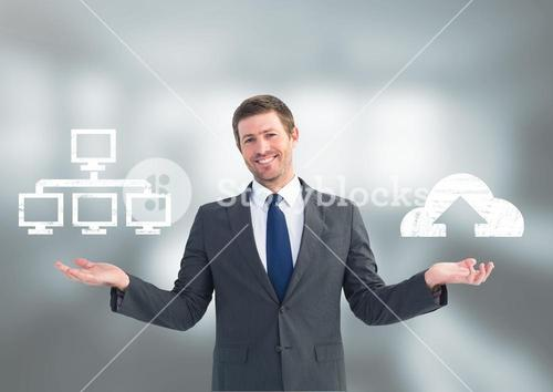 Man choosing or deciding server or cloud computing with open palm hands