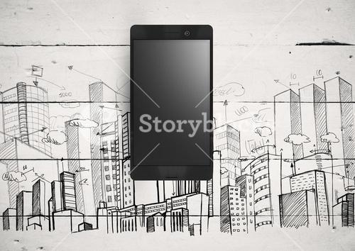 Phone against white wood background with City buildings drawings