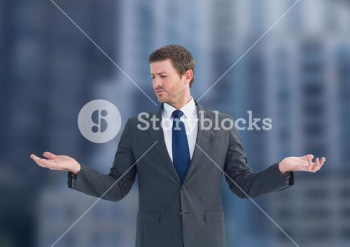 Man choosing or deciding with open palm hands