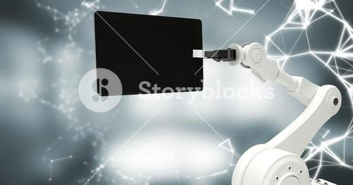 White robot claw with device and white interface against blurry grey room