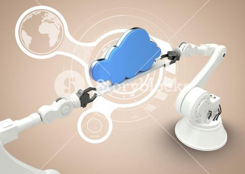 White robot claws with blue cloud against white interface and cream background
