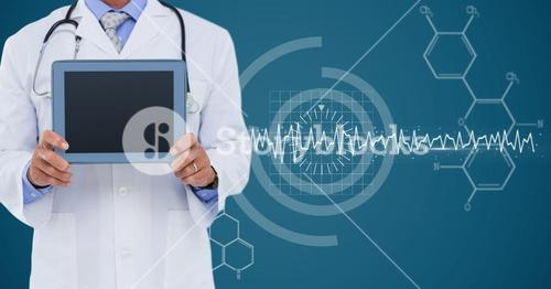 Doctor with tablet against white medical interface and blue background