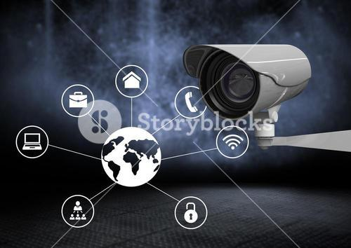 Security camera against dark background with world business icons