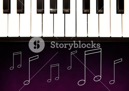 Piano keys against purple background with music note illustrations