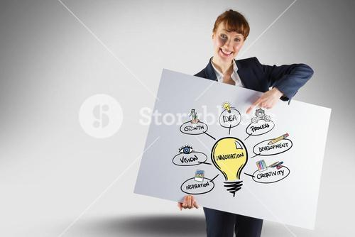 Bisiness woman holding big card with illustration of innovation process