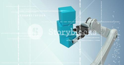 White robot claw holding blue boxes behind white interface against blue background