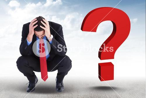 Worried businessman with 3d question mark on his side