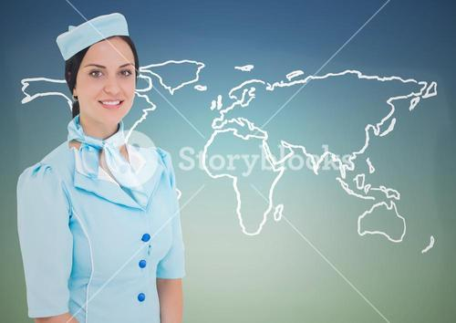 Stewardess against white map against blue green background