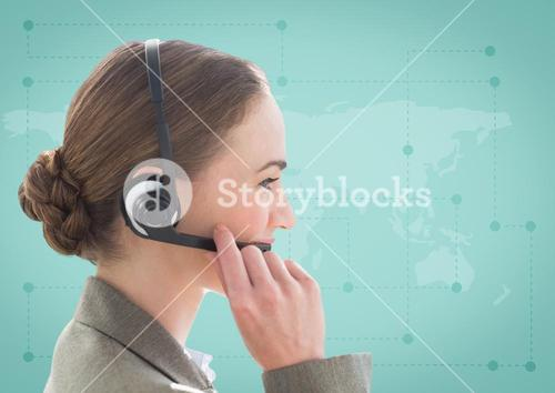 Close up of travel agent with headset against green map