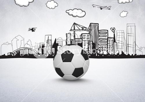 3D Football with city drawings on white background